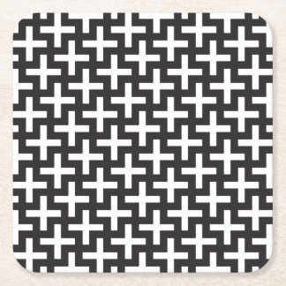 A b&w patterns made with 'plus' sign square paper coaster