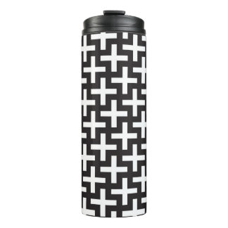 A b&w patterns made with 'plus' sign thermal tumbler