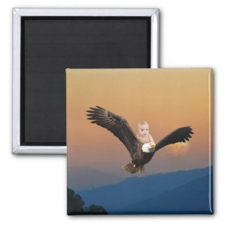 A baby and eagle sky magnet