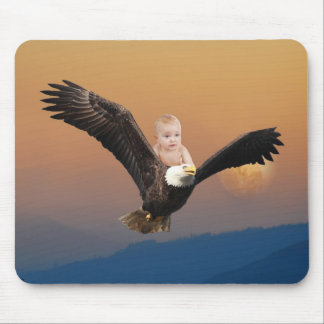 A baby and eagle sky mouse pad
