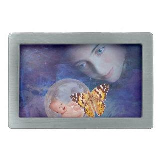 A baby and mother's joy rectangular belt buckle