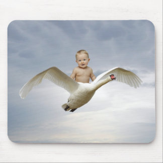 A baby and the swan sky mouse pad