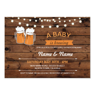 A Baby Brewing Shower Beers Lights Wood Invite