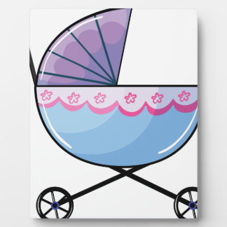 A baby buggy display plaque