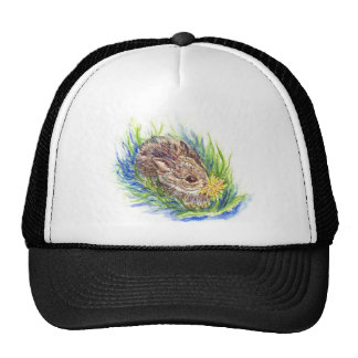 A Baby Cottontail Rabbit - watercolor pencil Trucker Hat