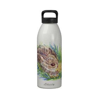 A Baby Cottontail Rabbit - watercolor pencil Reusable Water Bottles