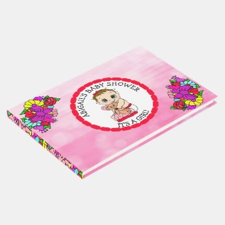 A Baby Girl and her Teddy Bear Baby Shower Guest B Guest Book