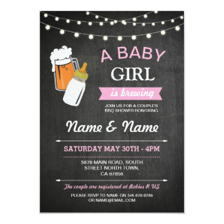 A Baby Girl Brewing Shower Beers Pink Chalk Invite