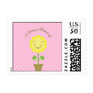 'A Baby is Blooming' Postage - Pink