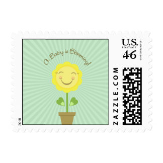 A Baby is Blooming Postage - Sage Green