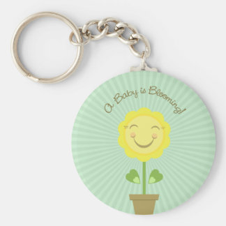 A Baby is Blooming Round Keychain Green