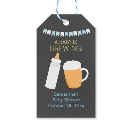 A Baby is Brewing BABY-Q Gift Tags (Boy)