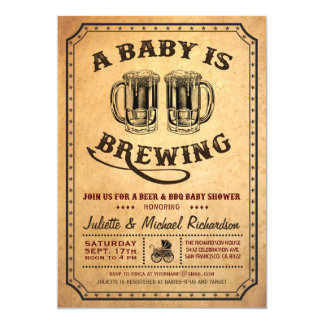 """A Baby is Brewing"" Baby Shower BBQ Invitations"