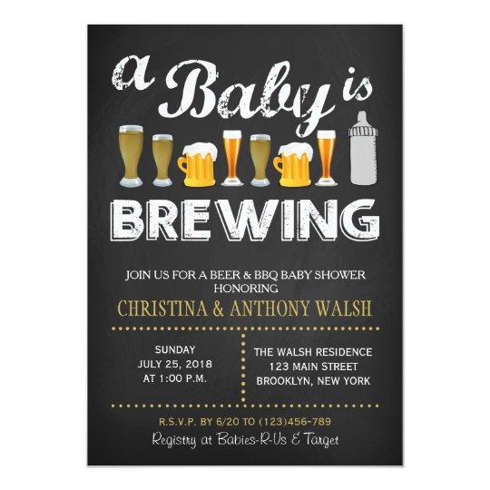 A Baby Is Brewing Shower Chalk Bbq Invitation