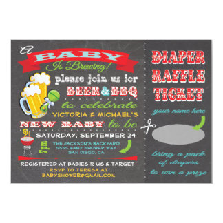 A Baby is Brewing Baby Shower Diaper Ticket 5x7 Paper Invitation Card