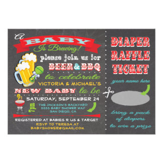 A Baby is Brewing Baby Shower Diaper Ticket Personalized Announcements