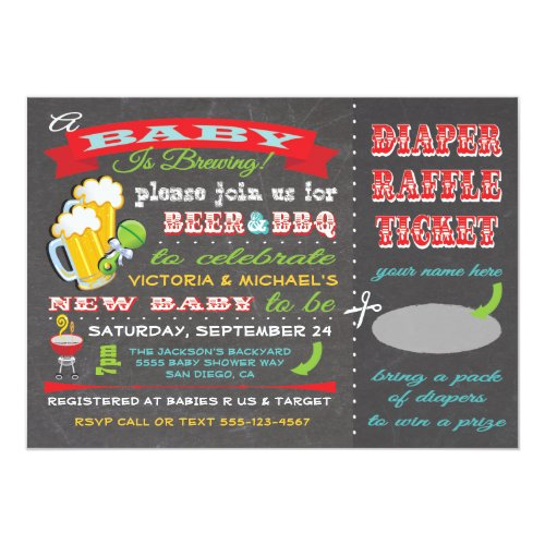 A Baby is Brewing Baby Shower Diaper Ticket Invitation