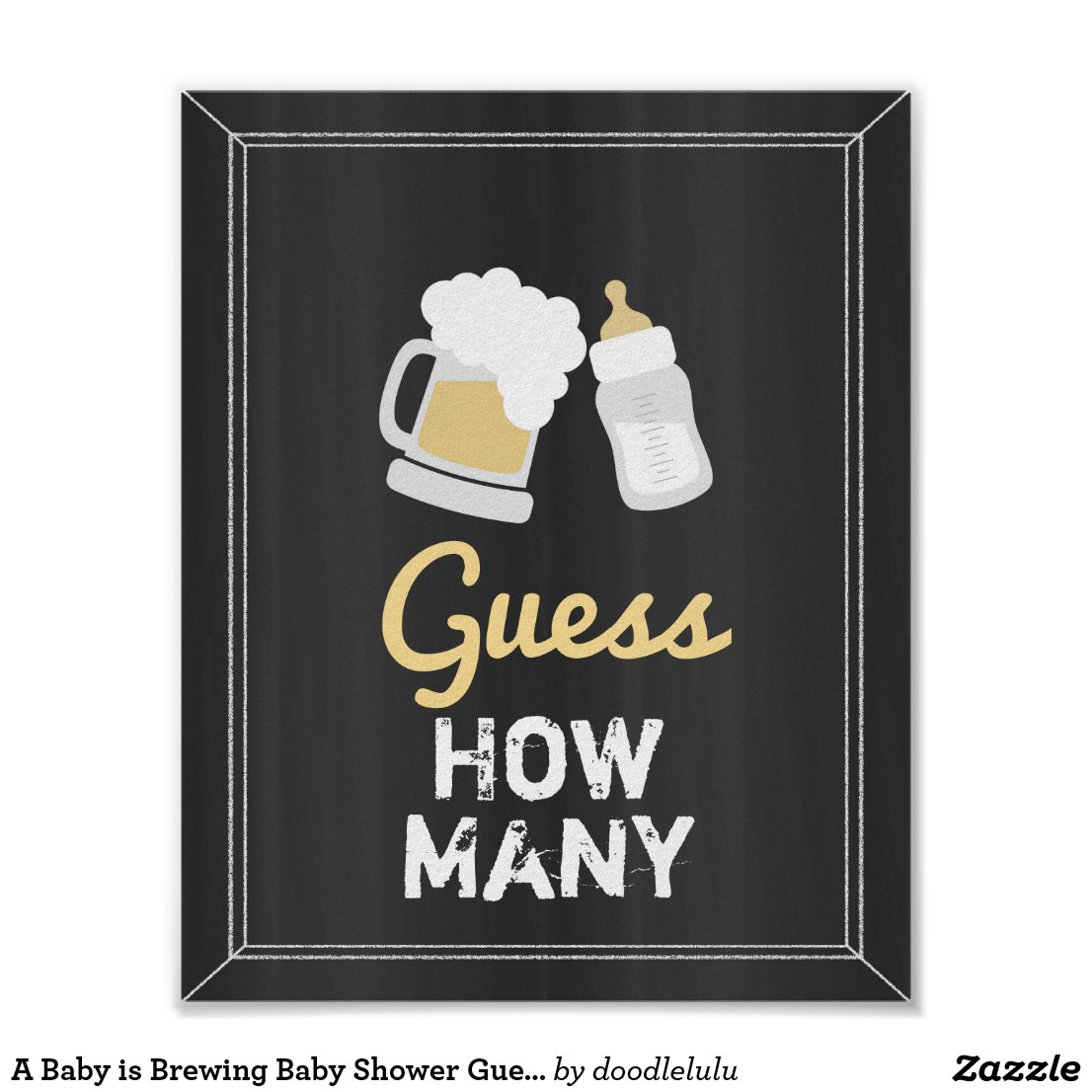 A Baby is Brewing Baby Shower Guess How Many Game Poster