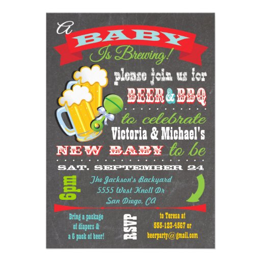 Personalized Beer and diaper party Invitations – Diaper Party Invitations