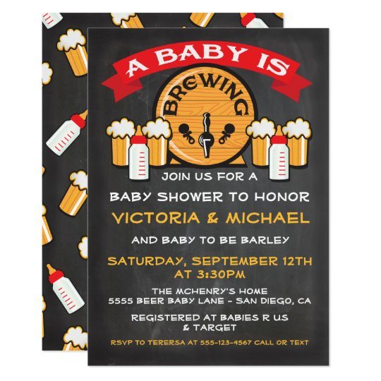 A Baby Is Brewing Shower Invitations