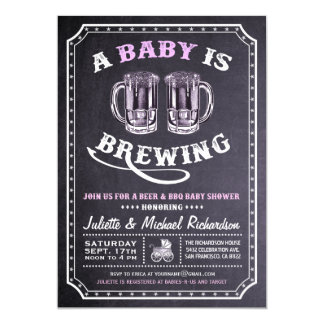 """A Baby is Brewing"" Baby Shower Invitations (Girl)"