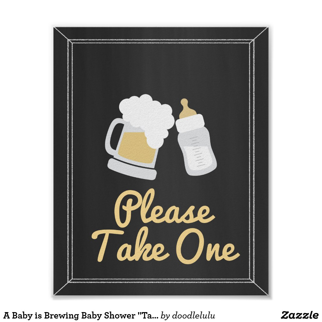 "A Baby is Brewing Baby Shower ""Take One"" Sign"
