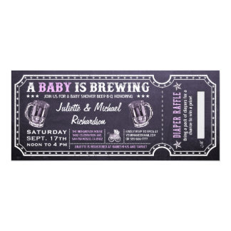 A Baby is Brewing Baby Shower Ticket Invitations