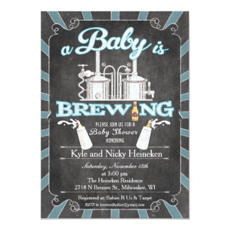 "A ""Baby is Brewing"" Couples BBQ Invitation - Boy"