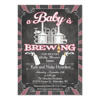 "A ""Baby is Brewing"" Couples BBQ Invitation - Girl"