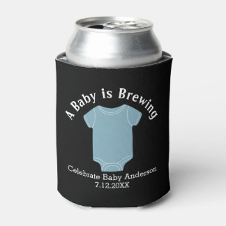 A Baby is Brewing - Couples Shower Favor Blue Boy Can Cooler