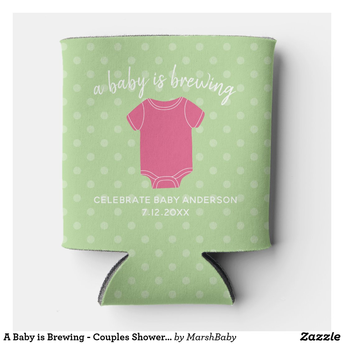 A Baby is Brewing - Couples Shower Favor Pink Girl Can Cooler
