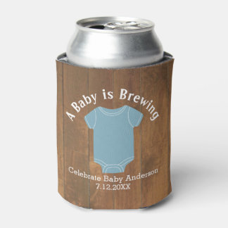A Baby is Brewing - Couples Shower Wood Blue Boy Can Cooler