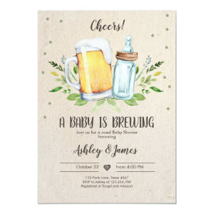 A Baby is Brewing Couples Baby Shower Invitations, Greenery Cheers