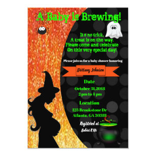 Halloween baby shower gifts on zazzle a baby is brewing halloween baby shower invite filmwisefo