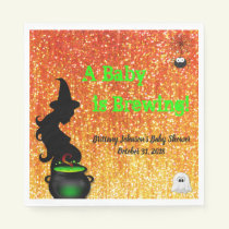 A Baby is Brewing! Halloween Baby Shower Napkin