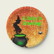 A Baby is Brewing! Halloween Paper Plate