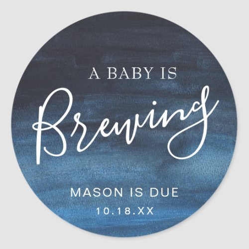 A Baby Is Brewing Navy Blue Boy Baby Shower Favor Classic Round Sticker