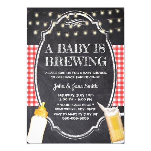 A Baby is Brewing Rustic Chalkboard Baby Shower Invitation
