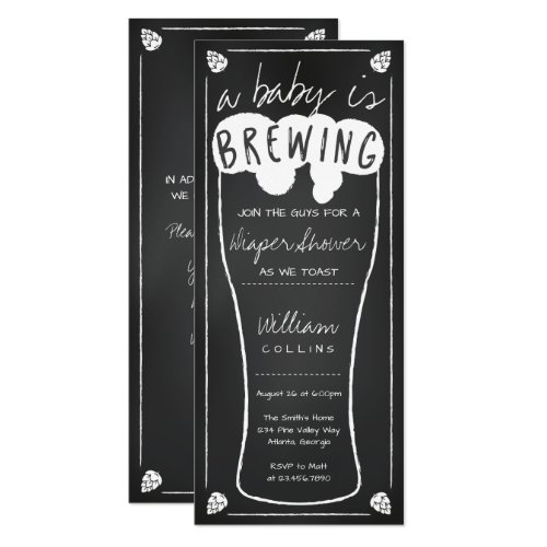 A Baby Is Brewing Shower Invitation, Diaper Shower Invitation