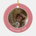 A baby Japanese Macaque (or snow monkey) Ceramic Ornament