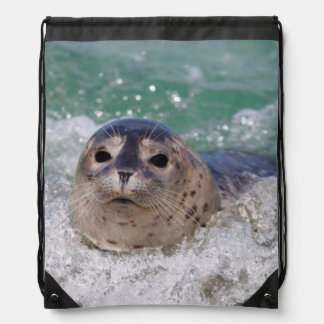 A baby seal surfing drawstring backpack