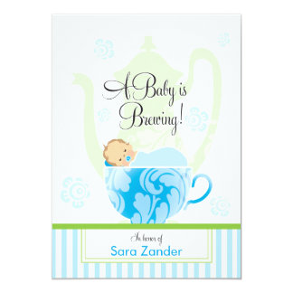 A Baby Shower Tea Party  |  Boy 5x7 Paper Invitation Card
