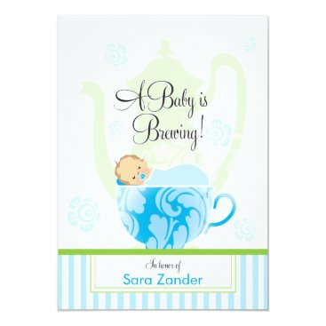 Toddler & Baby themed A Baby Shower Tea Party  |  Boy Card