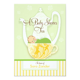 "A Baby Shower Tea Party  |  Gender Neutral 5"" X 7"" Invitation Card"