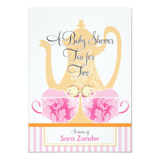 A Baby Shower Tea Party  |  Twin Girls 5x7 Paper Invitation Card