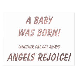 A Baby was Born! Angels rejoice! Postcard