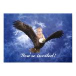 A baby's eagle adventure in blue 5x7 paper invitation card