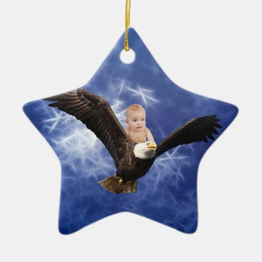 A baby's eagle adventure in blue christmas tree ornaments