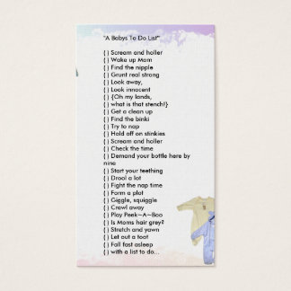 """A Babys To Do List'"" Business Card"
