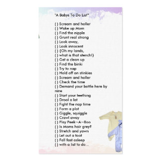 """""""A Babys To Do List'"""" Business Cards"""